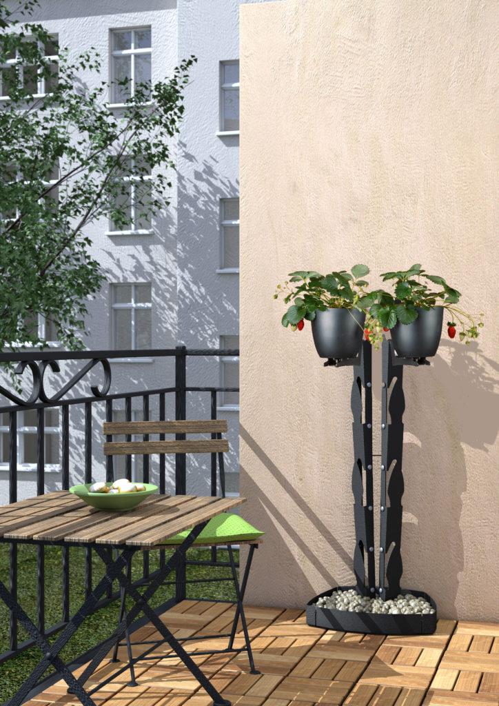 presentyourplants Pflanzenständer Blumenständer kleiner Balkon Terrasse Urban Gardening Erdbeeren Tomatenpflanzen Kräutergarten